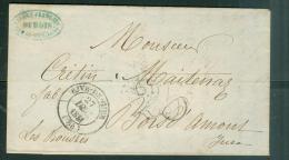Timbre à Date DE RIVE DE GIER EN 1851 SUR Lac  Pour Bois D'amour Jura  , Taxe Double Trait 25  Phi15120 - Marcophilie (Lettres)