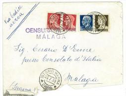 ITALIA REGNO - STORIA POSTALE - POSTA AEREA - CENSURA MILITARE MALAGA - ANNO 1939 - Correo Aéreo