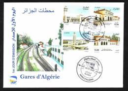Algeria 2008 -  Railway Stations ( 04v) - Scott# 1434/37 - FDC With Topical Cancel , Superb - Trains