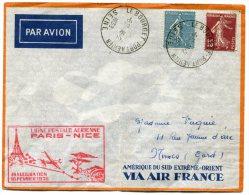 FRANCE LETTRE PAR AVION AVEC CACHET ROSE LIGNE POSTALE PARIS-NICE INAUGURATION 16 FEVRIER 1938 - 1927-1959 Briefe & Dokumente