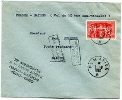 FRANCE LETTRE PAR AVION AVEC GRIFFE 20e ANNIVERSAIRE DE LA LIAISON AERIENNE PARIS-SAIGON 1930-1950 - 1927-1959 Briefe & Dokumente
