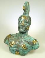 Buste D'Alexandre En Bronze Massif Oxydé 19cm - Bronzes