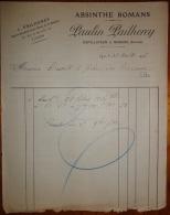 Facture Absinthe Romans Paulin Pailherey Lyon 1906 - 1900 – 1949