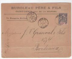 N°39 Obl St DENIS 7 FEV. 1896 Sur Devant D'enveloppe Cad LIGNE T PAQ. FR. N°4 - Covers & Documents