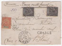 N°7X2 + 12  Obl TOURANE  ANNAM 30 NOV 1902 Sur Devant De Lettre CHARGEE - Covers & Documents