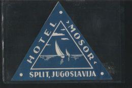 Hotel MOSOR Split Yugoslavia - Hotel Labels