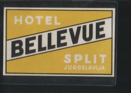 Hotel BELLEVUE Split Yugoslavia - Hotelaufkleber