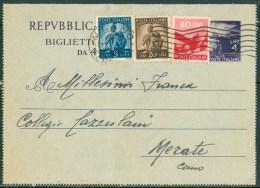 1948 23 Feb. Repubblica Biglietto Postale 4l.da Milano Per Merate Con Francobolli Aggiunti Tariffa 10l. -DB13 - 6. 1946-.. Repubblica