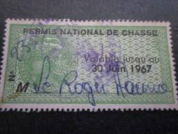 Permis National De Chasse 1967 Timbre Fiscal Fiscaux Pour Permis De Chasse Sans Valeur Faciale - Fiscaux