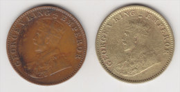 @Y@  India Britisch 2 X 1/4  Anna 1936  WRONG METAL  ?    7 Picture's    (2552) - India