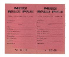 Fiche Vierge Du MRP, Mouvement Republicain Populaire Fonde Par Georges Bidault, 1944-1967 (13-4348) - Documents