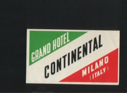 Grand Hotel CONTINENTAL Milano Italia - Hotelaufkleber