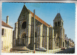 ROSAY EN BRIE 77 - L'Eglise Notre Dame : DS 19 Citroën En 1er Plan - CPSM Dentelée GF -  Seine Et Marne - France