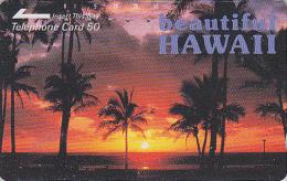 Télécarte Japon / 110-32086 - Site HAWAII - Palmiers & Coucher De Soleil - Sunset Japan Phonecard USA Rel. - 109 - Hawaï
