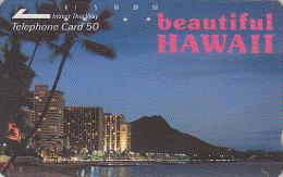 Télécarte Japon / 110-32087 - Site HAWAII - Ville & Plage De Nuit - Night View Japan Phonecard USA Rel. - 110 - Hawaï