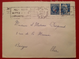 Lettre 75 PARIS Wagram 1948 Gandon 5F + Ceres Surchargé 1F - Marcophilie (Lettres)