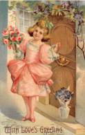 9238  Valentine   Girl Victorian Pink Dress Holding A Bouquet Of Flowers - Valentine's Day