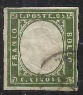 ANTICHI STATI ITALIANI ASI: 1862 SARDEGNA 5 CENTESIMI VERDE SCURO ANNULLATO USED - Sardegna