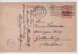 00919a Bruxelles-Brussel 4/X/1918 CP Censure N° 134 V. Gothenburg (Gotenborg) Schweden - Suède - Sweden - German Occupation