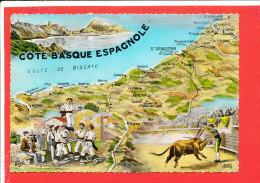 COTE BASQUE ESPAGNOLE Cpsm Carte Géographique   Edit Elcé - Maps