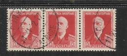 ALBANIA 1939 - 1940 SURCHARGE SOPRASTAMPATO 15 Q TIMBRATO STRISCIA STRIP 3 USED - Albania