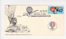 First Gas Balloon Flight Glens Falls Yellow Wolf Flamme Adirondack Balloon Festival Montgolfières Bicentenaire 1783 1983 - Montgolfières