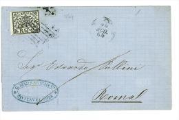 STORIA POSTALE - STATO PONTIFICIO - 1864 - SASS. 3a  -  2 BAJ  VERDE GIALLASTRO  LETTERA DA CIVITAVECCHIA PER ROMA - Stato Pontificio