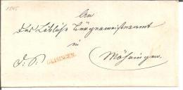 Bad052/  BADEN - Geisingen, Einzeiler In Rot 1845 - Duitsland
