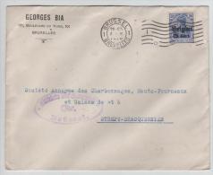 00963a Bruxelles-Brussel 1916  TP Oc 18 G. Bia 101 Bld Du Nord Censure Brüssel V. Strépy Bracquegnies - Guerre 14-18
