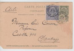01052a Bruxelles-Brussel St. Gilles Ch. Charleroi 1897 CP 5c+TP EXpo V. Santiago Chili Coin Coupé - Stamped Stationery