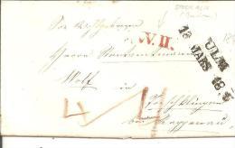 WTB136/ WÜRTTEMBERG -  Briefvon  Ulm 1845 In Die Schweiz Mit Grenzstempèl WII Von Stockach. - Duitsland