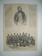 GRAVURE 1864. LE CAPITAINE SPEKE, EXPLORATEUR DES SOURCES DU NIL; L'ESCORTE DU CAPITAINE SPEKE. OUGANDA; 3 Gravures. - Prenten & Gravure