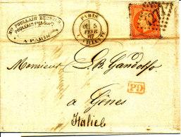 France 1867  ( N°23 S/lettre Avec GC N° 4277  -  PARIS - LA VILLETTE ) - 1862 Napoleone III