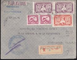 Indochine - Enveloppe Recommandée Oblitérée 1950 - N° 163 Par 2, 168 Par 2, 170 - Trésorerie Du Cambodge - Indochine (1889-1945)