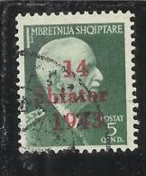 ALBANIA OCCUPAZIONE TEDESCA 1943 5 Q TIMBRATO USED - Occ. Allemande: Albanie