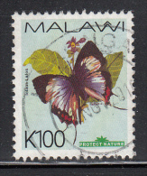 Malawi Used Scott #713 100k Iolaus Lalos - Butterflies - Malawi (1964-...)