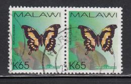Malawi Used Pair 65k Papilio Pelodorus - Butterflies - Malawi (1964-...)