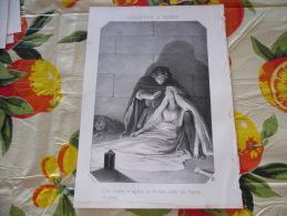 LITOGRAFIA INCISIONE GIULIETTA E ROMEO  1800 ORIGINALE - Litografia