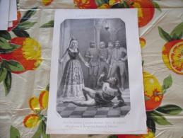 LITOGRAFIA INCISIONE MARGHERITA DI BORGOGNA REGINA DI NAVARRA  1800 ORIGINALE - Litografia
