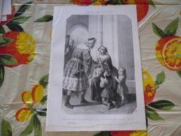 LITOGRAFIA INCISIONE INèS DE CASTRO 1800 ORIGINALE - Litografia