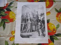 LITOGRAFIA INCISIONE GIOVANNA PRIMA REGINA DI NAPOLI  1800 ORIGINALE - Litografia