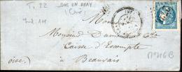 LETTRE SANS CORRESPONDANCE DE ONS EN BRAY ( OISE ) - Y & T N°46B  - CACHET A DATE TYPE 24 - 1870 Emission De Bordeaux