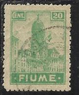FIUME 1919 ALLEGORIE E VEDUTE  FIUME 20 CENT. TIMBRATO USED - 8. Occupazione 1a Guerra