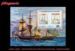 CUBA MINT. 1987-05 EXPOSICIÓN FILATÉLICA NACIONAL. SELLO EN SELLO. HOJA BLOQUE - Cuba