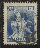 FIUME 1919 ALLEGORIE E VEDUTE  VIEWS CENT. 25 AZZURRO TIMBRATO USED OBLITERE' - 8. Occupazione 1a Guerra