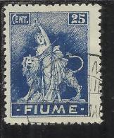 FIUME 1919 ALLEGORIE E VEDUTE  FIUME 20 CENT. AZZURRO TIMBRATO USED - 8. Occupazione 1a Guerra
