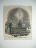 GRAVURE 1864. BELGIQUE. ILLUMINATION DE L'HOTEL DE VILLE DE BRUXELLES, LE 26 SEPTEMBRE 1864. - Estampes & Gravures