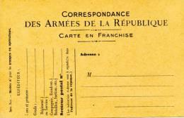 Carte Officielle De Franchise Militaire Modèle A 1, N°16 Carton Chamois - Postmark Collection (Covers)