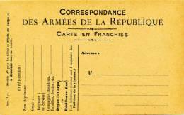 Carte Officielle De Franchise Militaire Modèle A 2, N°17 Carton Chamois Recommandation Verso 3 Lignes - Postmark Collection (Covers)