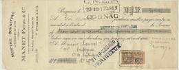Mandat MANET Frères Mercerie Bonneterie 1928 Périgueux (24) - Cambiali